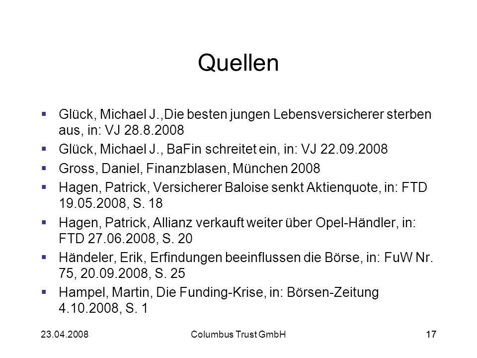 Quellen Glück, Michael J.,Die besten jungen Lebensversicherer sterben aus, in: VJ 28.8.2008.