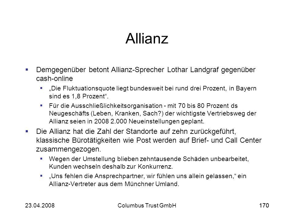 Allianz Demgegenüber betont Allianz-Sprecher Lothar Landgraf gegenüber cash-online.