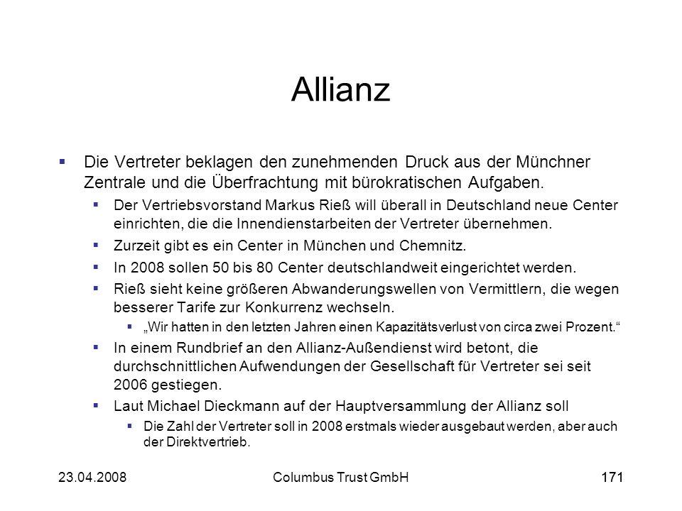 Allianz Die Vertreter beklagen den zunehmenden Druck aus der Münchner Zentrale und die Überfrachtung mit bürokratischen Aufgaben.
