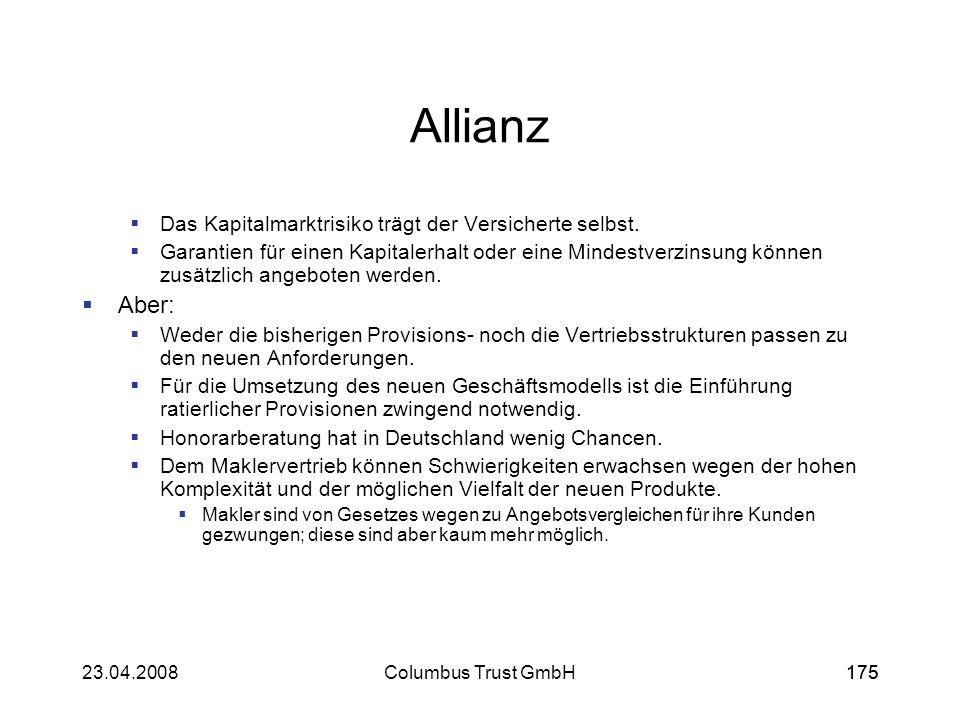 Allianz Aber: Das Kapitalmarktrisiko trägt der Versicherte selbst.