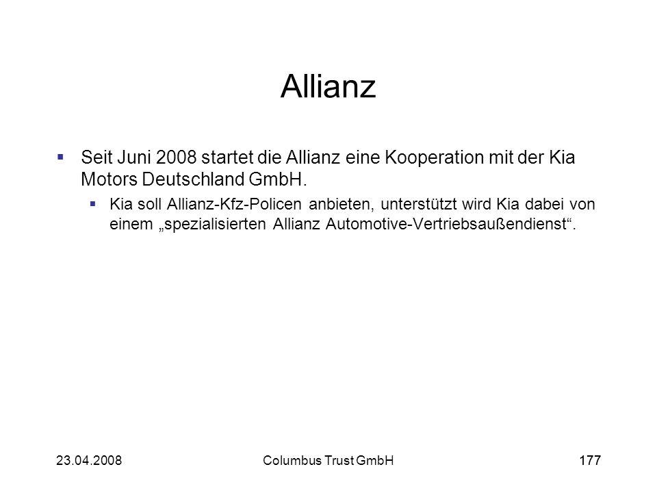 Allianz Seit Juni 2008 startet die Allianz eine Kooperation mit der Kia Motors Deutschland GmbH.
