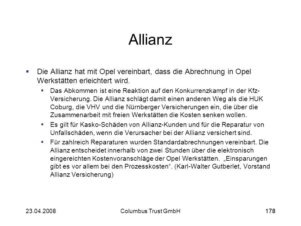 Allianz Die Allianz hat mit Opel vereinbart, dass die Abrechnung in Opel Werkstätten erleichtert wird.