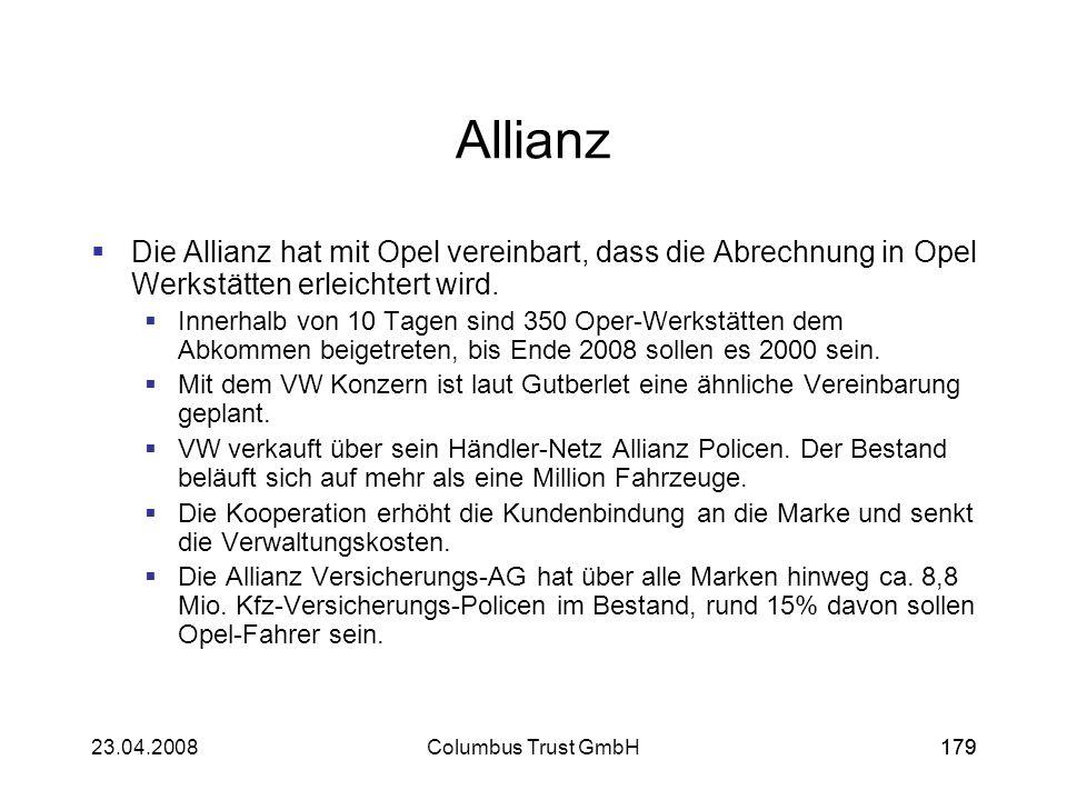 AllianzDie Allianz hat mit Opel vereinbart, dass die Abrechnung in Opel Werkstätten erleichtert wird.