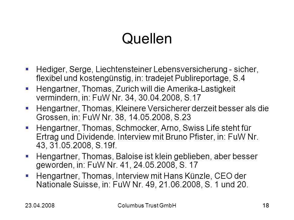 Quellen Hediger, Serge, Liechtensteiner Lebensversicherung - sicher, flexibel und kostengünstig, in: tradejet Publireportage, S.4.