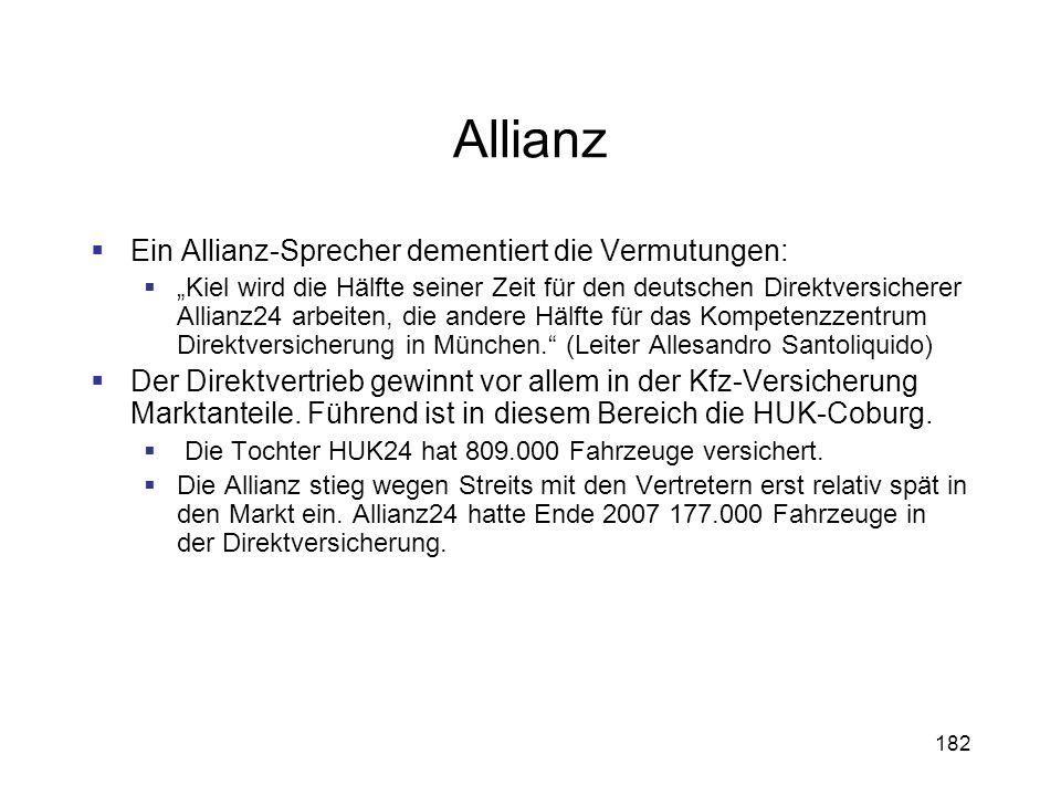 Allianz Ein Allianz-Sprecher dementiert die Vermutungen: