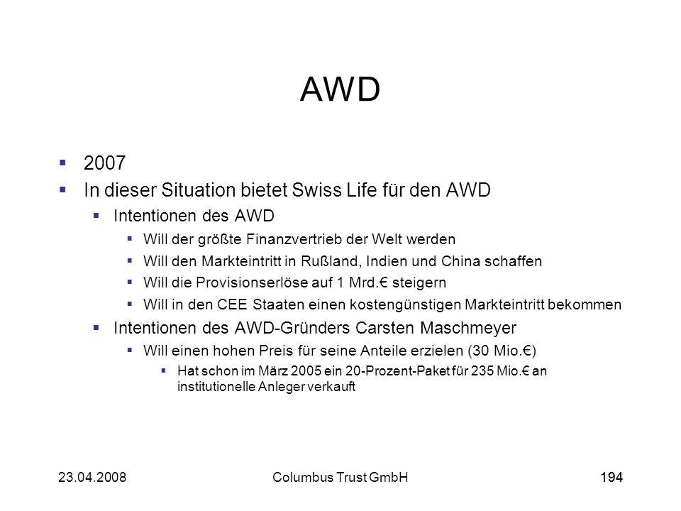 AWD 2007 In dieser Situation bietet Swiss Life für den AWD