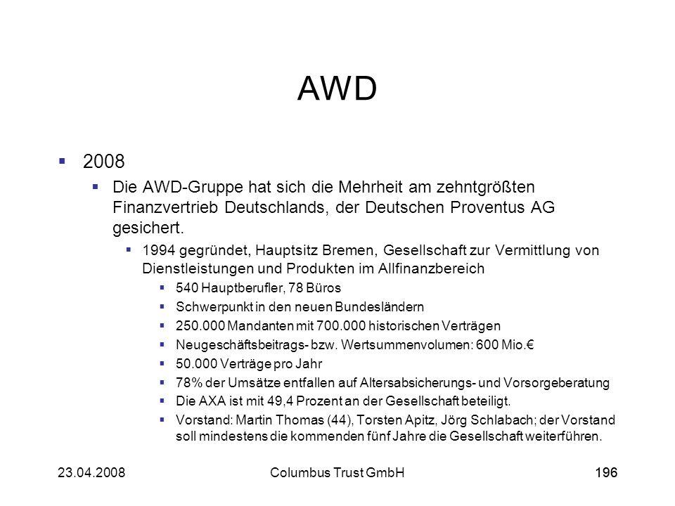 AWD 2008. Die AWD-Gruppe hat sich die Mehrheit am zehntgrößten Finanzvertrieb Deutschlands, der Deutschen Proventus AG gesichert.