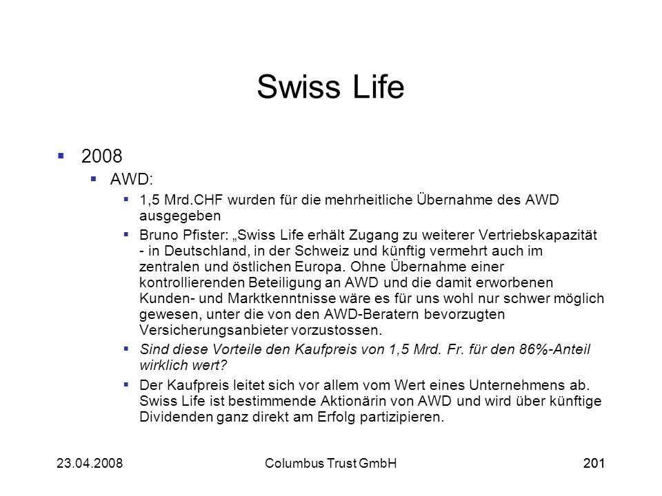 Swiss Life2008. AWD: 1,5 Mrd.CHF wurden für die mehrheitliche Übernahme des AWD ausgegeben.