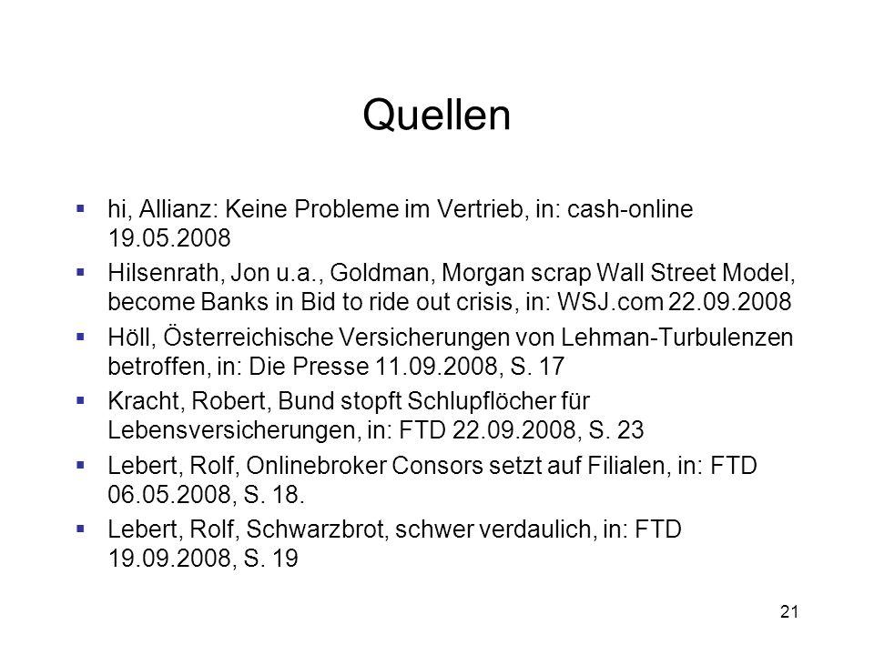 Quellen hi, Allianz: Keine Probleme im Vertrieb, in: cash-online 19.05.2008.