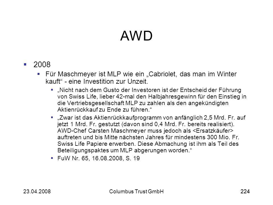 """AWD 2008. Für Maschmeyer ist MLP wie ein """"Cabriolet, das man im Winter kauft - eine Investition zur Unzeit."""