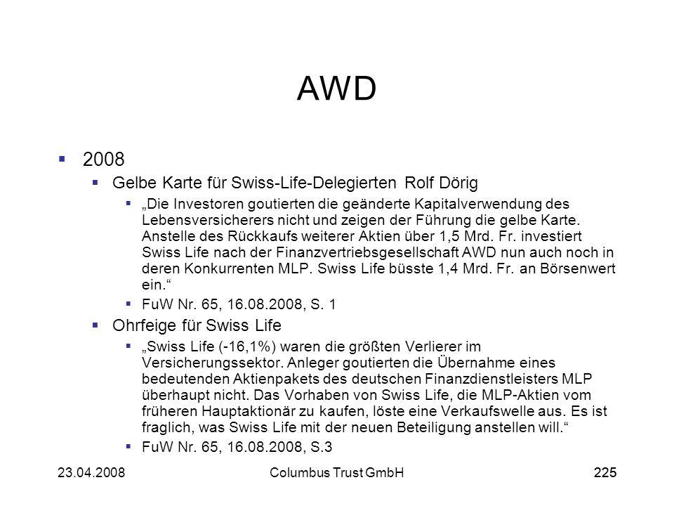 AWD 2008 Gelbe Karte für Swiss-Life-Delegierten Rolf Dörig