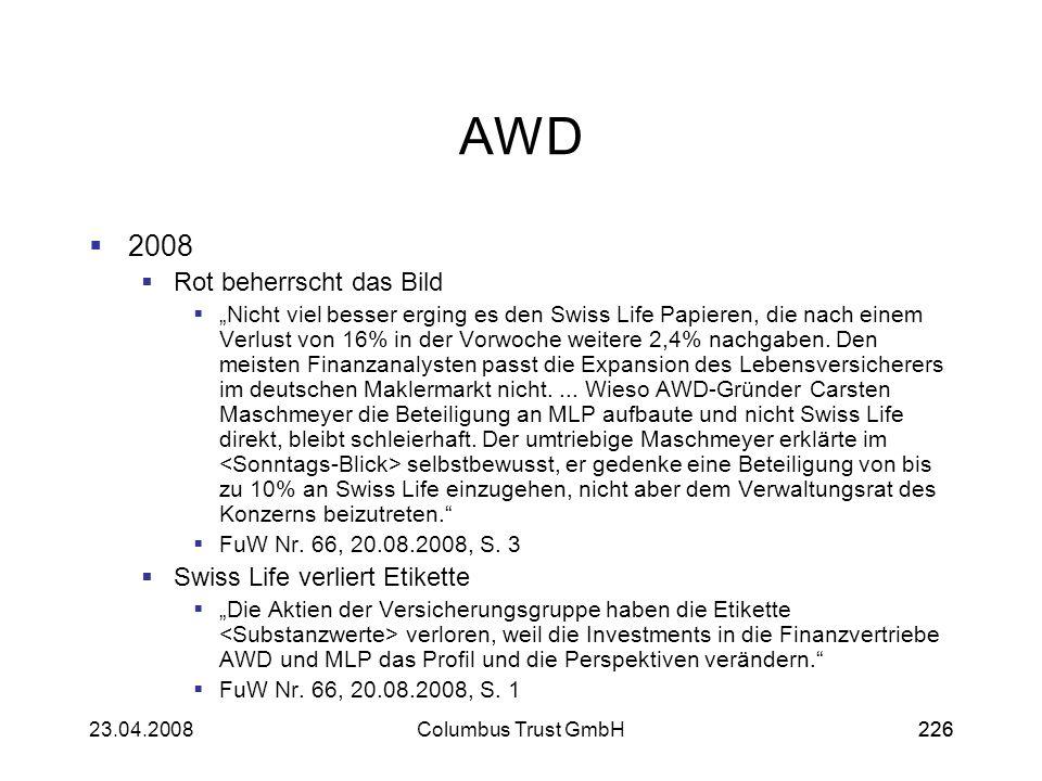 AWD 2008 Rot beherrscht das Bild Swiss Life verliert Etikette