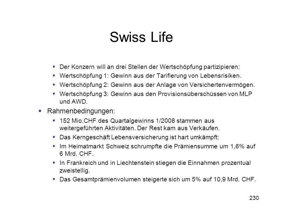 Swiss Life Rahmenbedingungen: