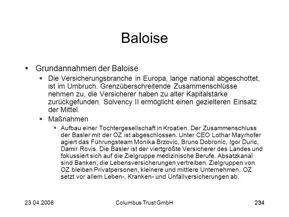 Baloise Grundannahmen der Baloise