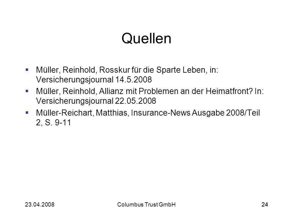 Quellen Müller, Reinhold, Rosskur für die Sparte Leben, in: Versicherungsjournal 14.5.2008.
