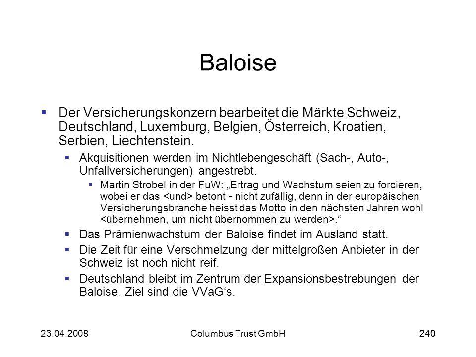 Baloise Der Versicherungskonzern bearbeitet die Märkte Schweiz, Deutschland, Luxemburg, Belgien, Österreich, Kroatien, Serbien, Liechtenstein.