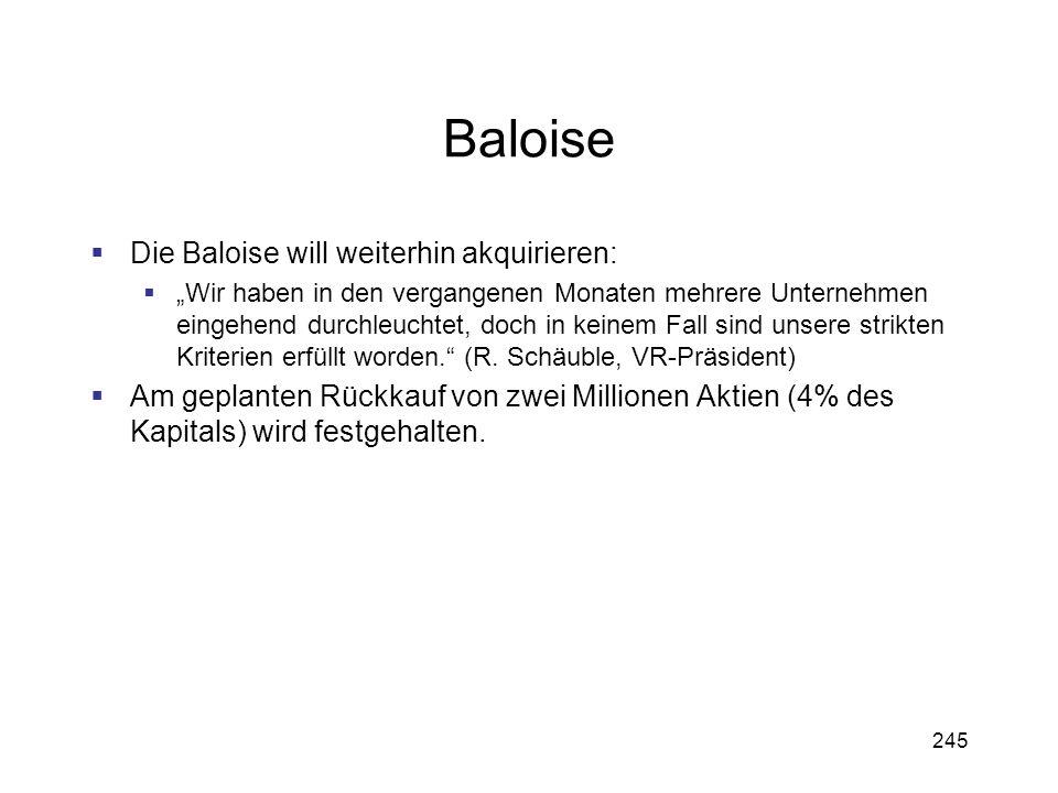 Baloise Die Baloise will weiterhin akquirieren: