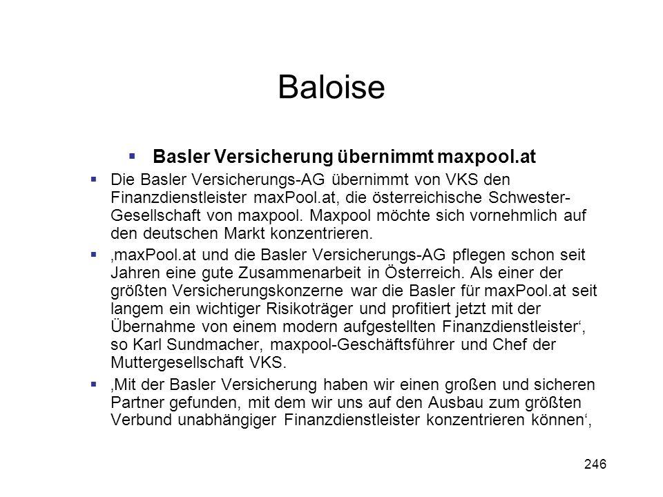 Basler Versicherung übernimmt maxpool.at