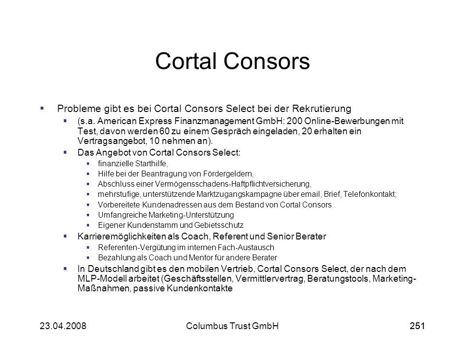 Cortal ConsorsProbleme gibt es bei Cortal Consors Select bei der Rekrutierung.