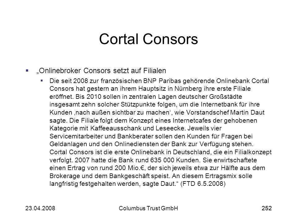 "Cortal Consors ""Onlinebroker Consors setzt auf Filialen"