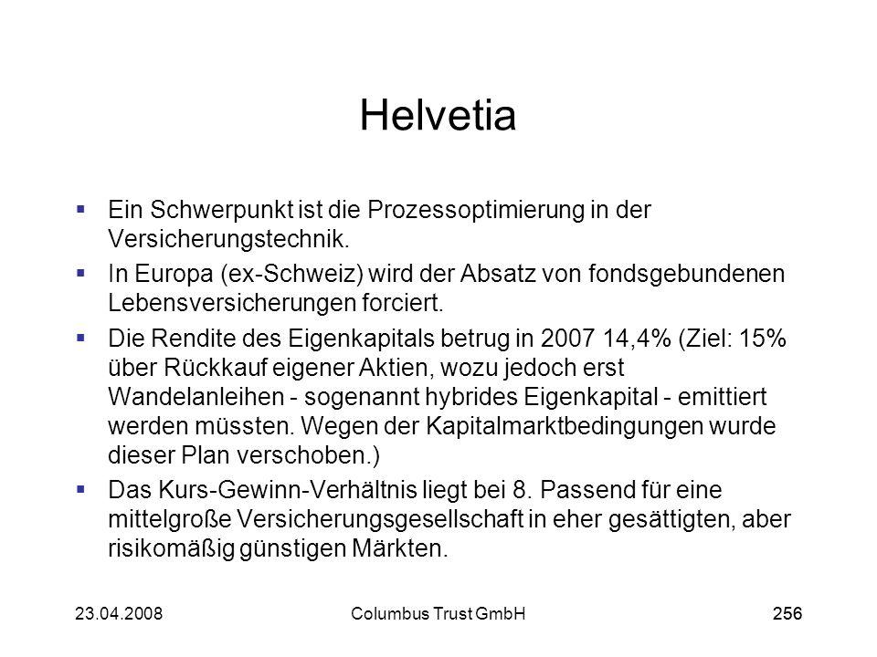 Helvetia Ein Schwerpunkt ist die Prozessoptimierung in der Versicherungstechnik.