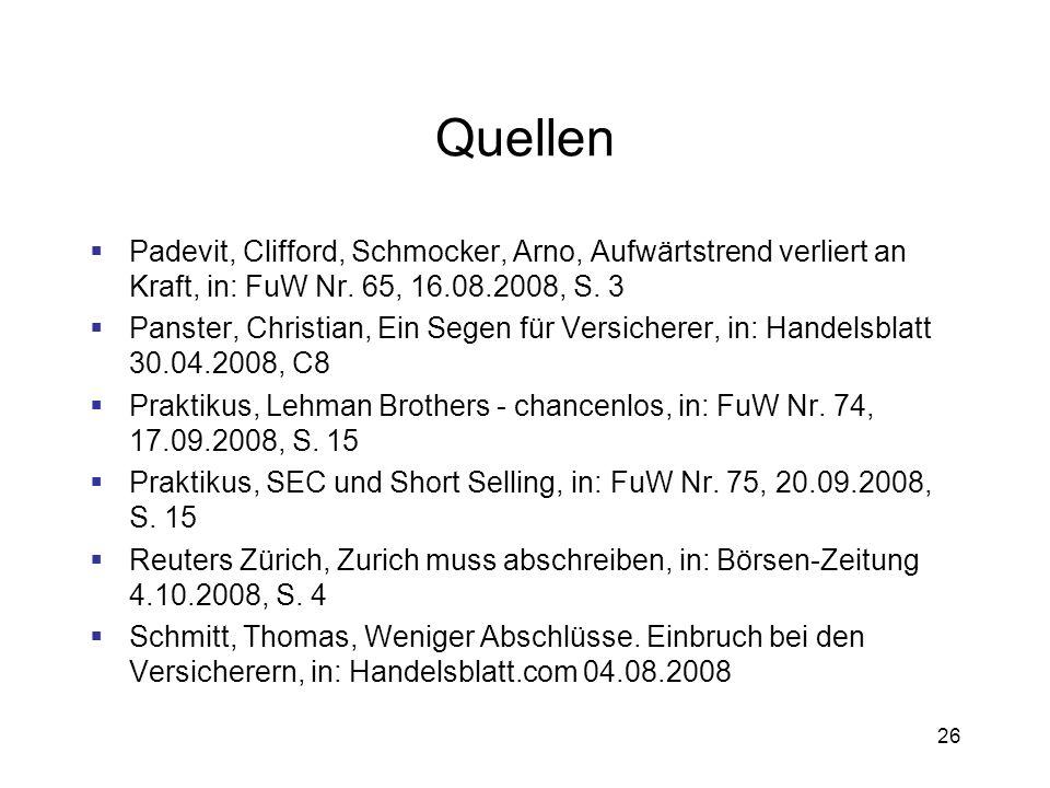 QuellenPadevit, Clifford, Schmocker, Arno, Aufwärtstrend verliert an Kraft, in: FuW Nr. 65, 16.08.2008, S. 3.