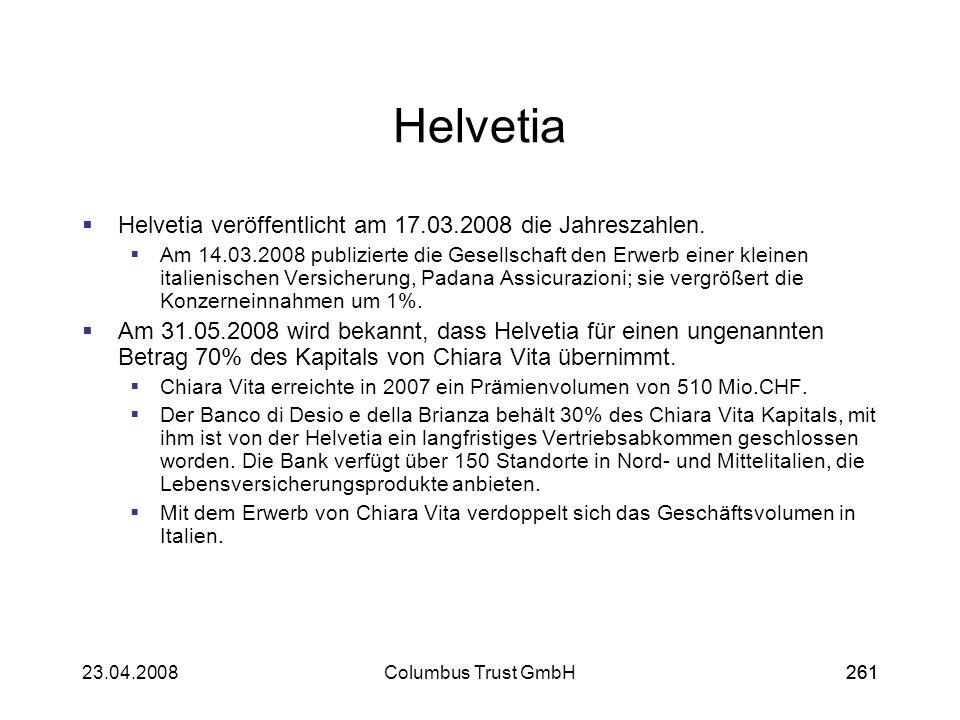 Helvetia Helvetia veröffentlicht am 17.03.2008 die Jahreszahlen.