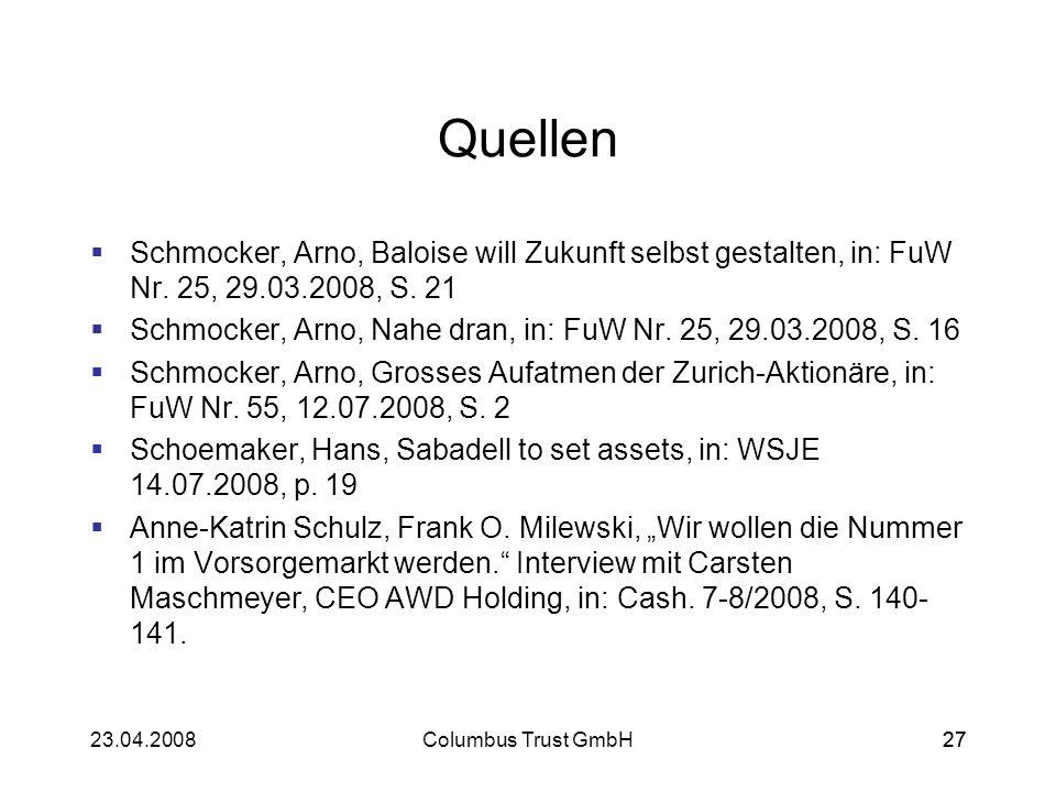 Quellen Schmocker, Arno, Baloise will Zukunft selbst gestalten, in: FuW Nr. 25, 29.03.2008, S. 21.