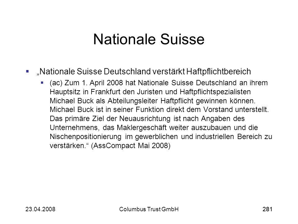 """Nationale Suisse """"Nationale Suisse Deutschland verstärkt Haftpflichtbereich."""