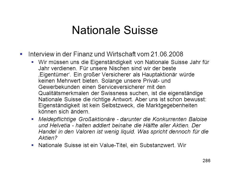 Nationale Suisse Interview in der Finanz und Wirtschaft vom 21.06.2008