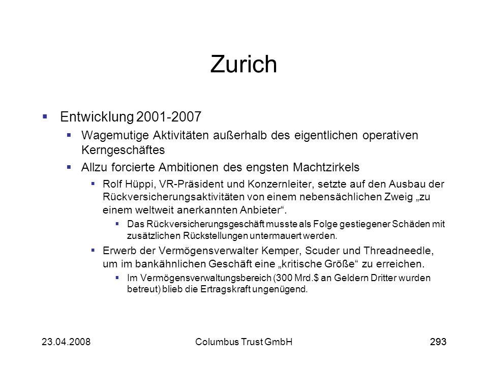 Zurich Entwicklung 2001-2007. Wagemutige Aktivitäten außerhalb des eigentlichen operativen Kerngeschäftes.