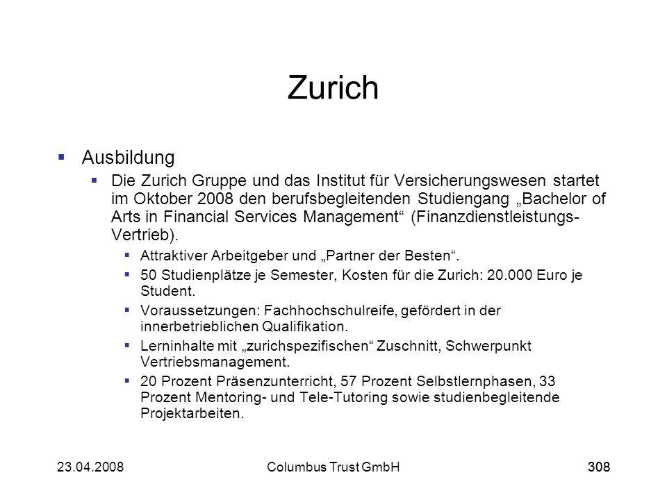 Zurich Ausbildung.