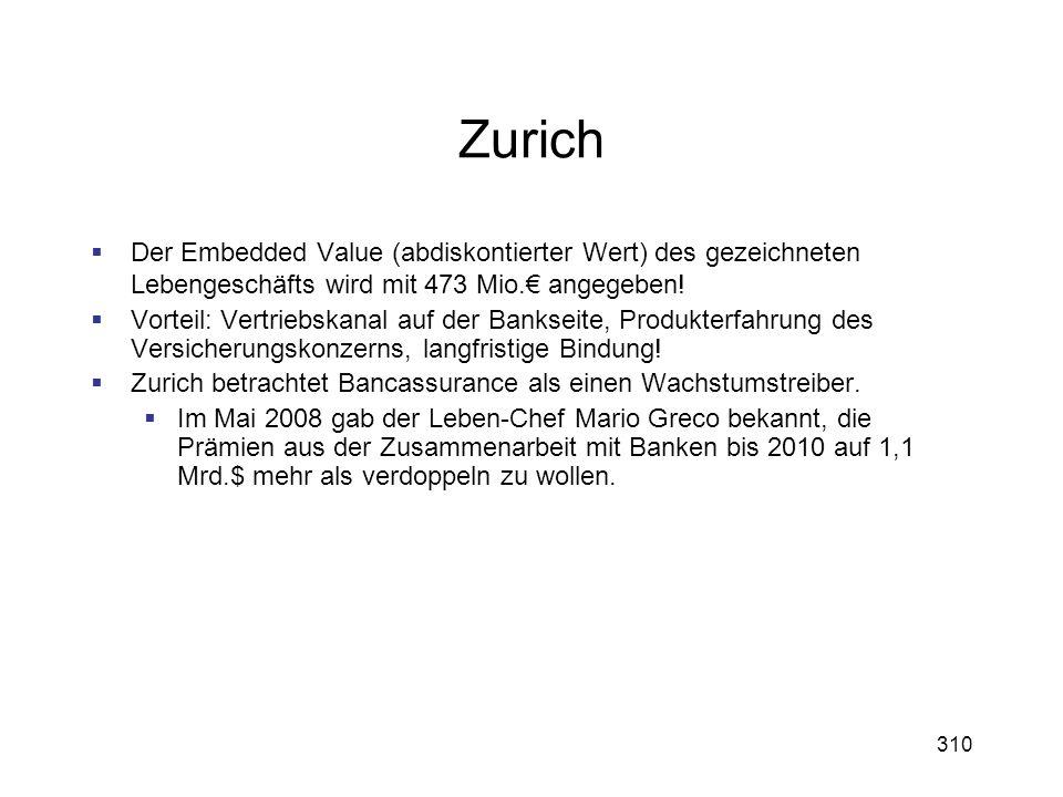 Zurich Der Embedded Value (abdiskontierter Wert) des gezeichneten Lebengeschäfts wird mit 473 Mio.€ angegeben!