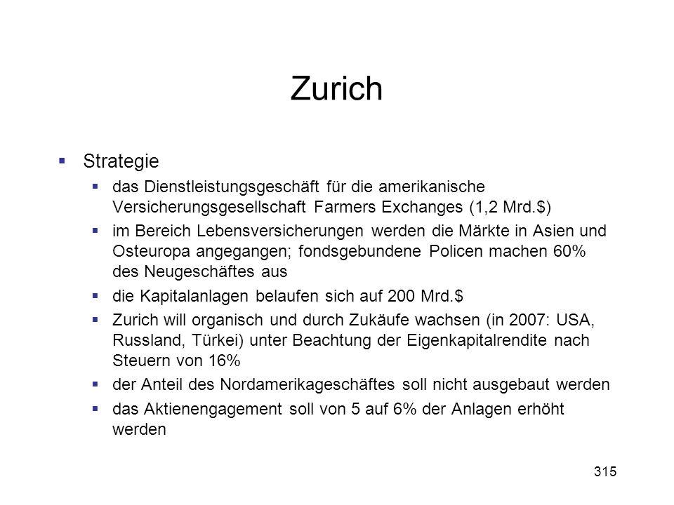 Zurich Strategie. das Dienstleistungsgeschäft für die amerikanische Versicherungsgesellschaft Farmers Exchanges (1,2 Mrd.$)