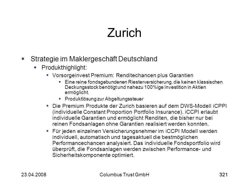 Zurich Strategie im Maklergeschäft Deutschland Produkthighlight: