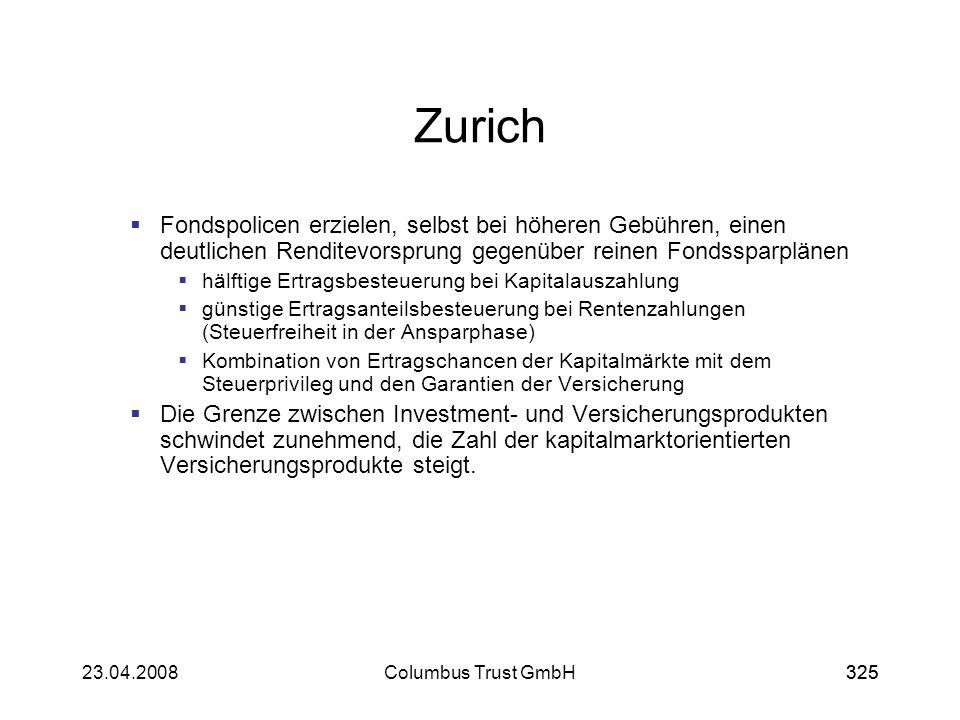 Zurich Fondspolicen erzielen, selbst bei höheren Gebühren, einen deutlichen Renditevorsprung gegenüber reinen Fondssparplänen.