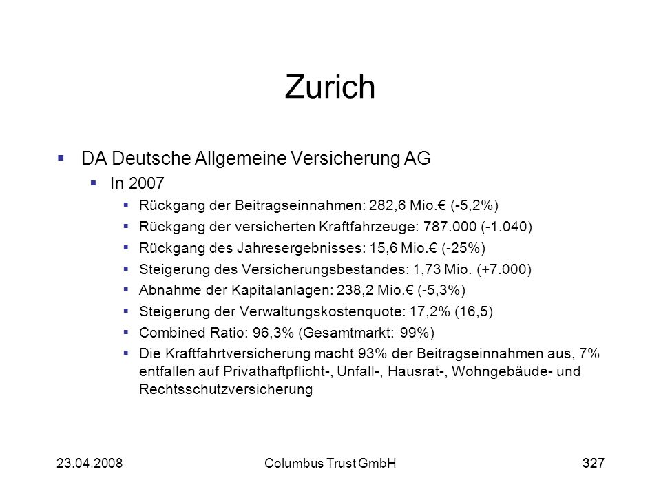 Zurich DA Deutsche Allgemeine Versicherung AG In 2007