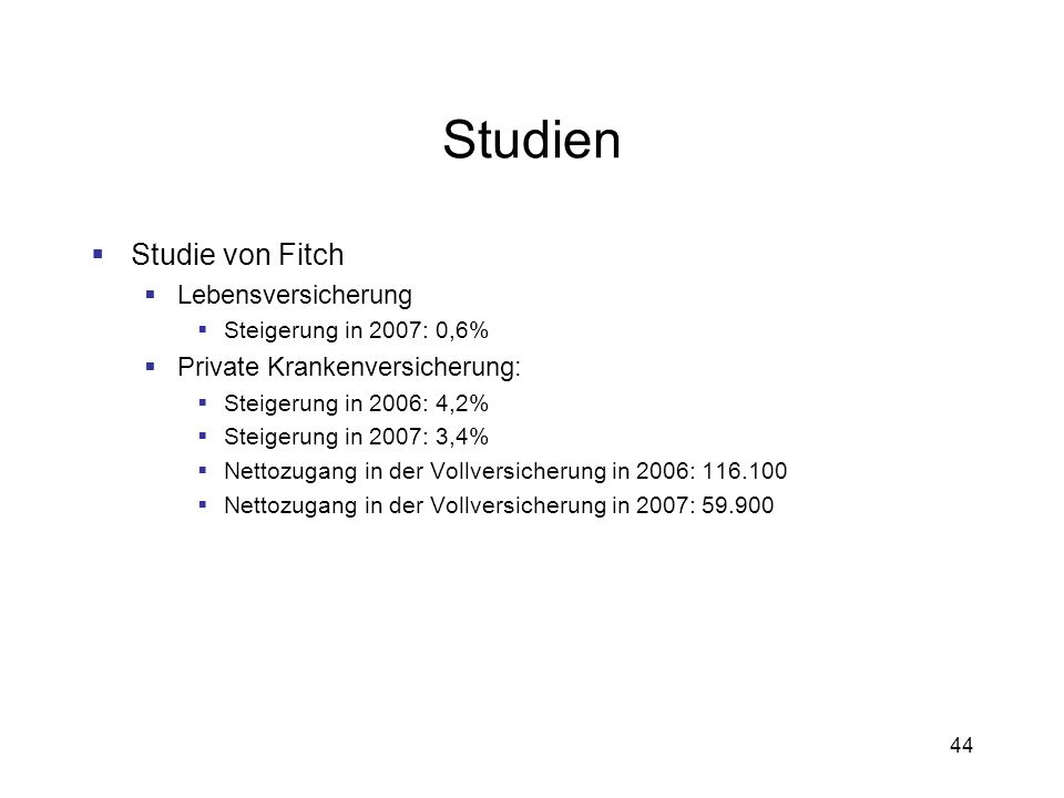 Studien Studie von Fitch Lebensversicherung