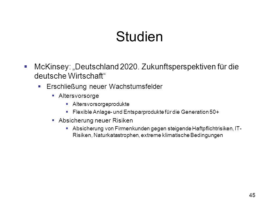 """Studien McKinsey: """"Deutschland 2020. Zukunftsperspektiven für die deutsche Wirtschaft Erschließung neuer Wachstumsfelder."""