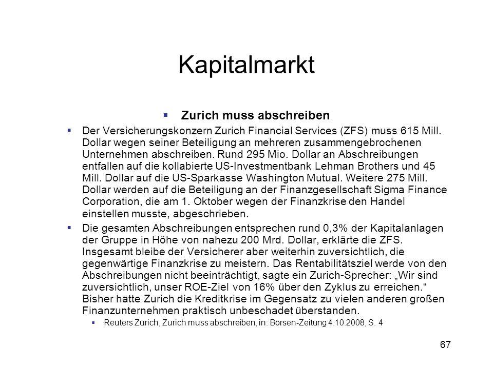Zurich muss abschreiben