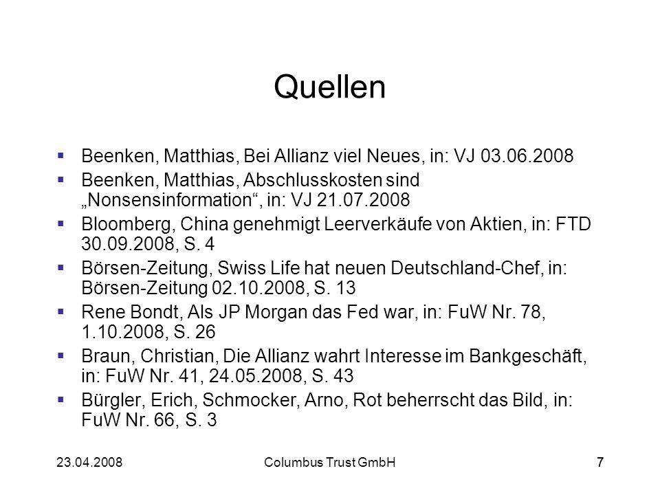Quellen Beenken, Matthias, Bei Allianz viel Neues, in: VJ 03.06.2008