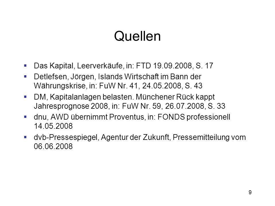 Quellen Das Kapital, Leerverkäufe, in: FTD 19.09.2008, S. 17