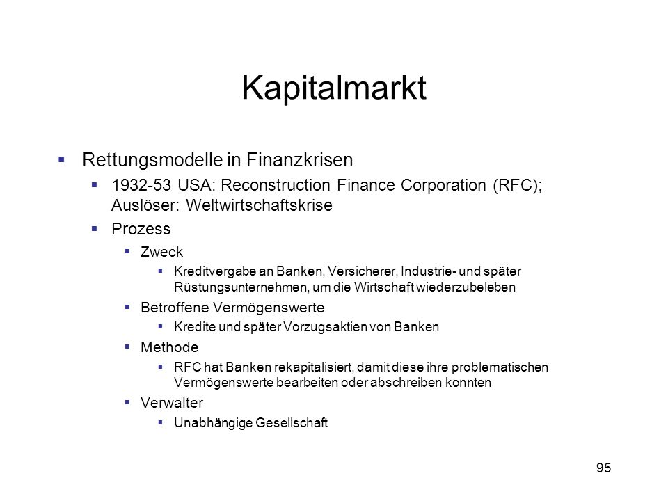 Kapitalmarkt Rettungsmodelle in Finanzkrisen