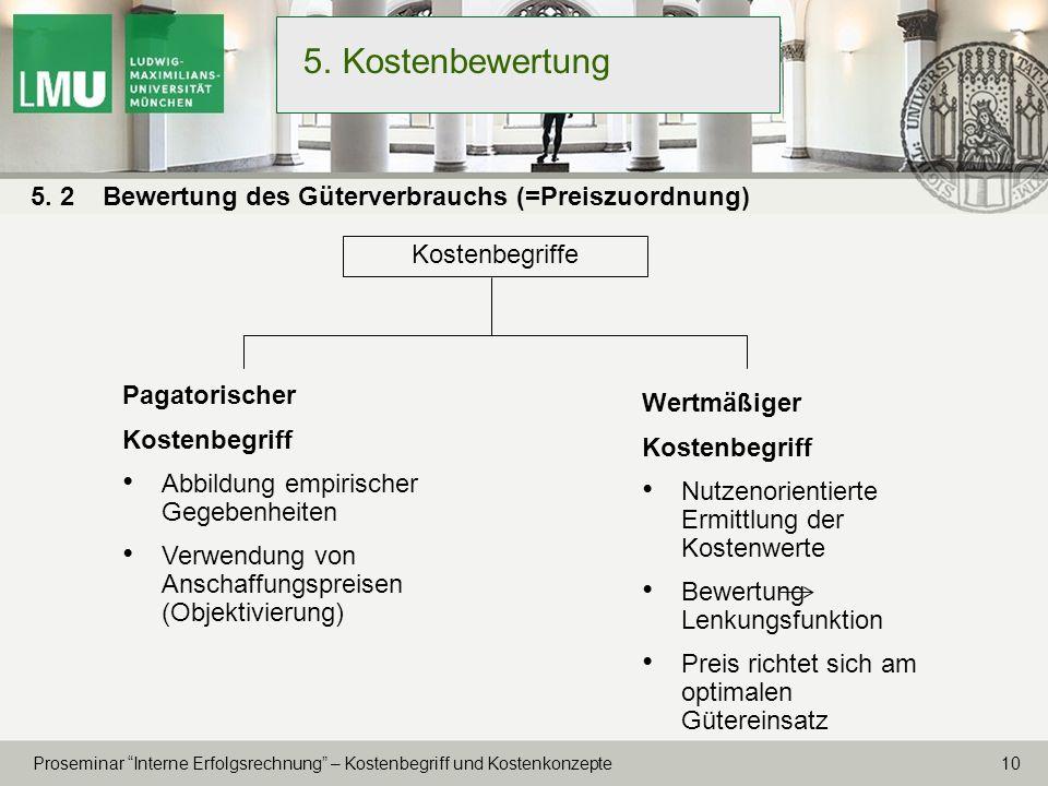 5. Kostenbewertung 5. 2 Bewertung des Güterverbrauchs (=Preiszuordnung) Kostenbegriffe. Pagatorischer.