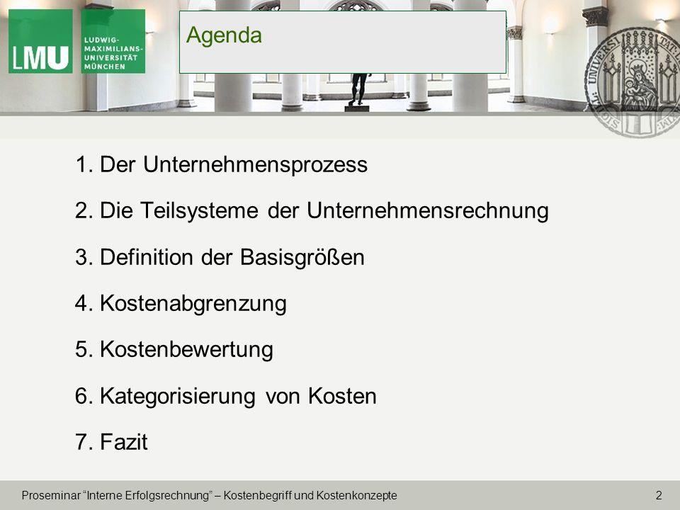 Agenda 1. Der Unternehmensprozess. 2. Die Teilsysteme der Unternehmensrechnung. 3. Definition der Basisgrößen.