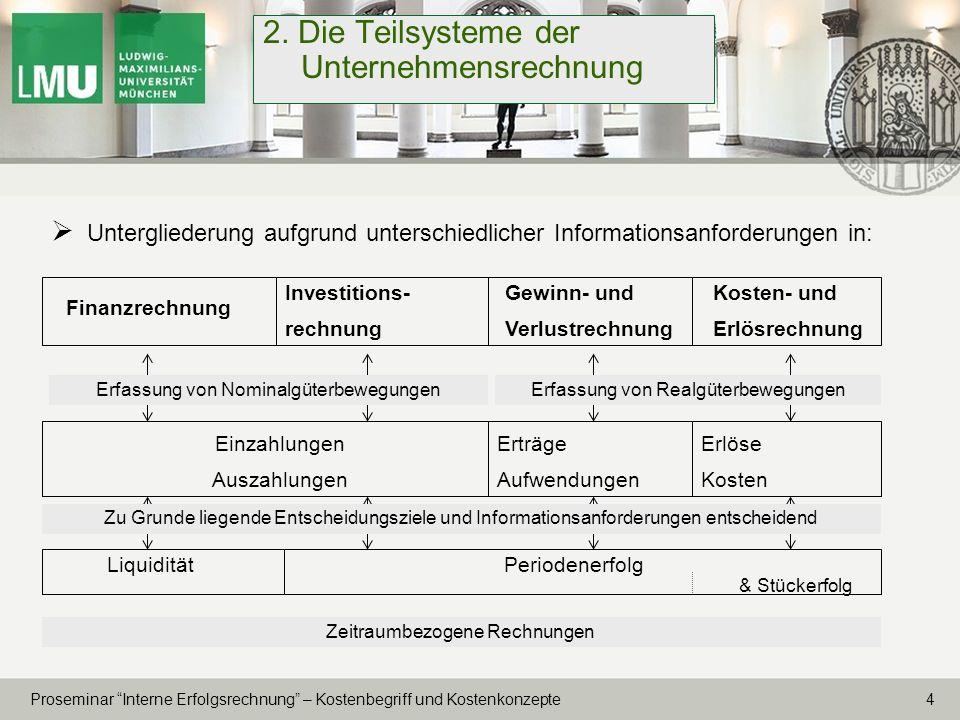 2. Die Teilsysteme der Unternehmensrechnung