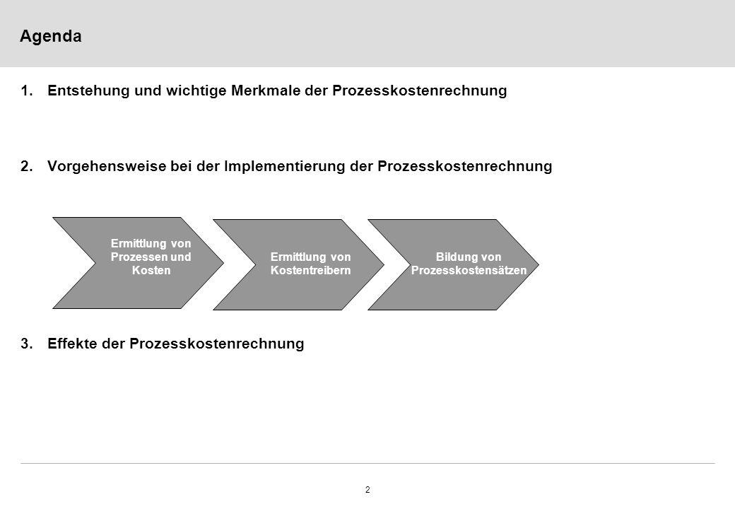 Agenda 1. Entstehung und wichtige Merkmale der Prozesskostenrechnung