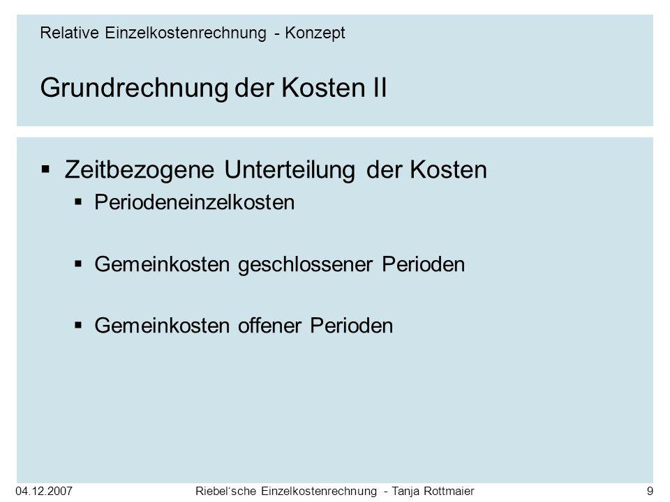 Grundrechnung der Kosten II