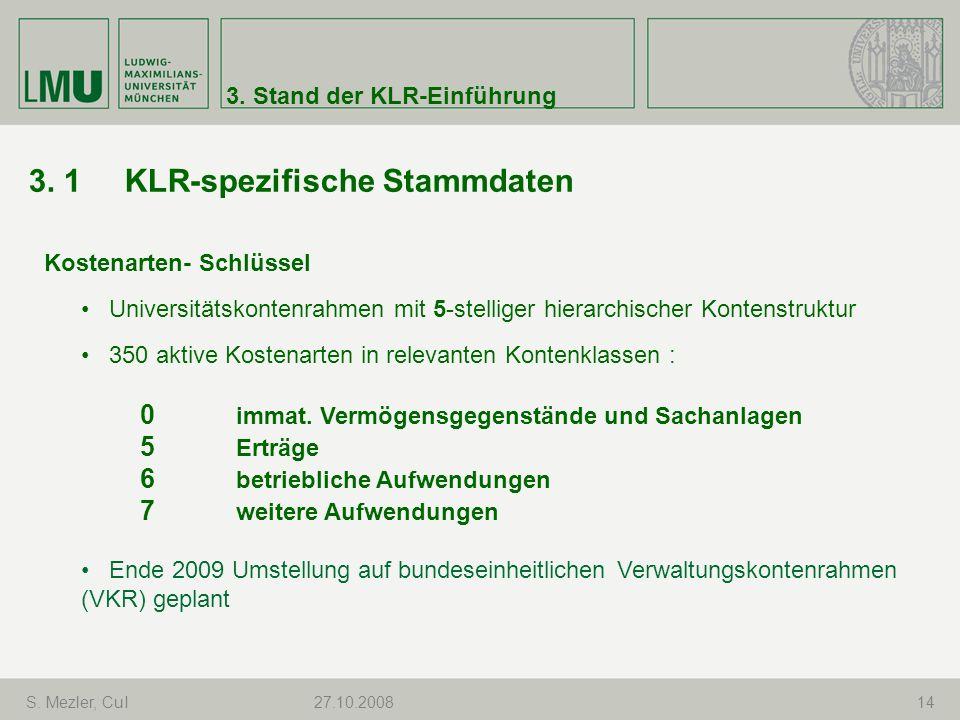 3. 1 KLR-spezifische Stammdaten