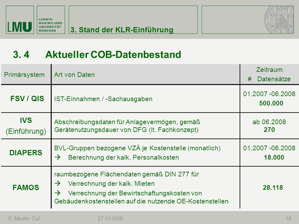 3. 4 Aktueller COB-Datenbestand